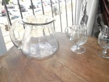 UNUSUAL VINTAGE SHAPED GLASS WATER JUG WITH 2 X FOC WEBB CORBETT GLASS GOBLETS